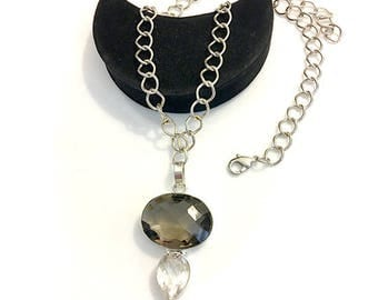 Smokey Topaz Crystal Clear Pendant Silver Necklace