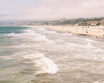 Santa Monica Beach Canvas Gallery Wrap, California, Los Angeles Photography, 16x24 to 32x48 Inch Large Wall Art