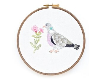 Embroidery Hoop Art, Wood Pigeon and Red Campion