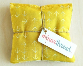 Organic Lavender Sachet Set in Mustard Yellow Arrows & Linen Handmade Hostess Gift - 2 Sachets  Natural Home Organic Gifts