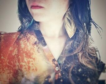 Gold vinyl leaves/ boho/bold/statement earrings
