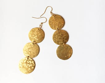 Three Hammered Brass Moons/ Wind Chimes/ Statement Earrings