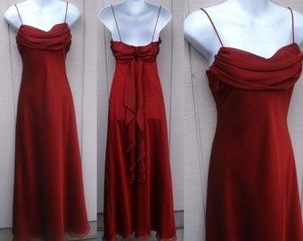 90s Vintage Maroon Red Drape Neck Bias Cut Maxi Dress w/ Empire Waist Bodice by KIKI / Maxi Glam Party Prom Bridesmaid Dress // Sz Sml - Med