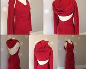 Red Hooded Dress Jersey backless long dress with shrug