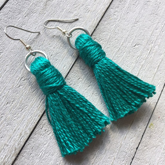 Blue Tassel Earrings, Dangle Earrings, Boho Chic Earrings, Bohemian Earrings, Simple Tassel Earrings, Boho Earrings, Colorful Earrings