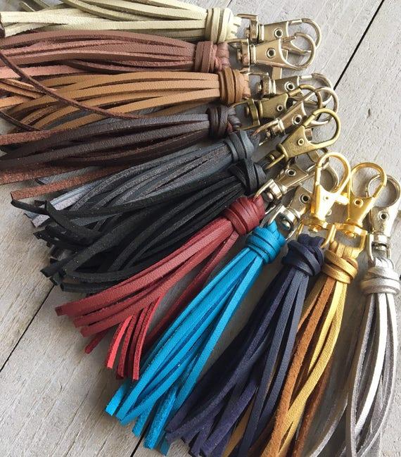 "3.5"" Small Tassel Vegan Leather Faux Suede Tassel - Zipper Pull, Purse Charm Planner Tassel"