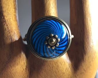 Blue Swirl Glass Ring Adjustable - all PROFITS donated to the ACLU