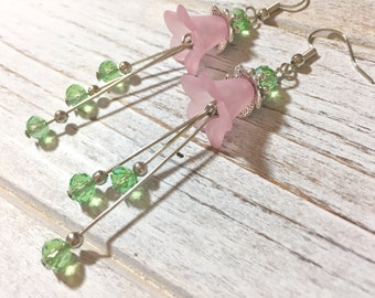Pink Flower Earrings, Long Spring Earrings, Vintage Lucite Flower Earrings, Green Bead Cluster Earrings, Pretty Woodland Earrings