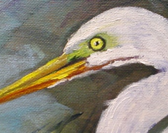 Egret Head  miniature oil ACEO  Barbara Haviland Studio Sale