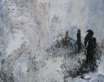 Unique wall decor, Crow Song, Raven Spirit, Black and white art,  Shabby Chic Decor, hand painted, original art, contemporary art, Griselda