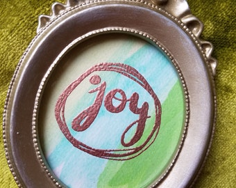 joy tiny framed watercolor art
