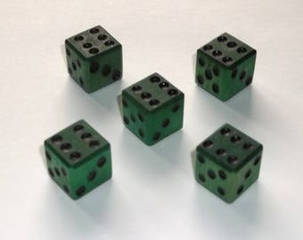 Wooden Dice - Imperfect Green 5-Pack