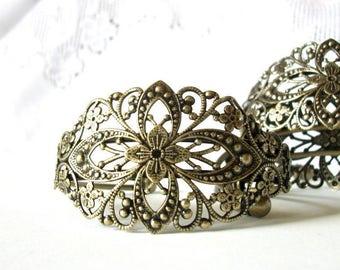 Assemblage base, 10 Cuff bracelets, antique brass filigree bracelet, bridal jewelry, vintage style, bronze bracelet base, diy wedding