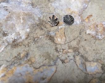 "Cannabis ""Ear Bud"" Studs - Sterling Silver"