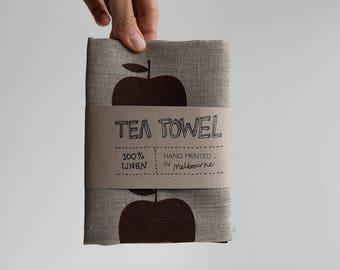 Linen Tea Towel - Apples, hand screen printed in Melbourne