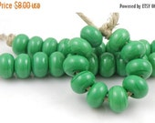 Boxing Week Sale 216 Opaque Grass Green Lampwork Beads - Handmade Artisan Lampwork Glass Spacer Beads 5mmx9mm - SRA (Set of 10 Spacer Beads)