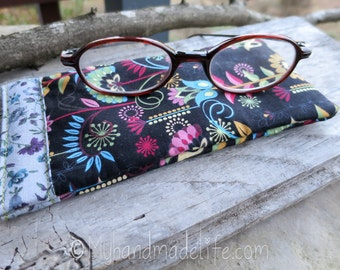 Eye Glass Case | Cute Reading Glasses Case | Cute Bright Floral Fabric | Glasses Case | Small Eye Glass Case Under 15 | Cute Gift Under 15
