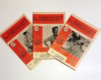 Workbasket Home and Needlecraft Magazines (3) - July 1955 - Aug 1955 - Sept 1955 - Work Basket
