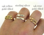 Gold Ring, custom made wrap ring, hand stamped ring with your personalized message, rose gold or yellow gold colors goldfilled ring