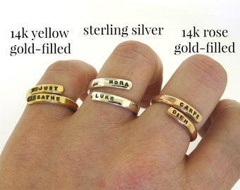 Gold Ring, custom made wrap ring, hand stamped ring with your message, personalized gift, rose gold or yellow gold colors goldfilled ring