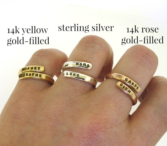 Gold Ring custom made wrap ring hand stamped ring with your