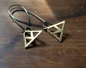 Brass Triangle Earrings - raw brass triangle grid earrings - gunmetal earwires - geometric jewelry - brass jewelry - modern minimal