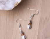 Leopardskin Jasper orange and silver earrings
