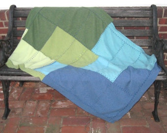Cashmere Blanket . cashmere quilt . repurposed cashmere sweaters  . healing blanket . cancer patient blanket . BLUE TO GREEN