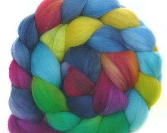 SUPERWASH SUPERFINE MERINO roving top handdyed wool spinning fiber 3.8 oz