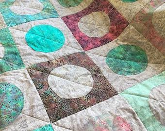 Circle Quilt, Batik Quilt, Modern Lap Quilt, Small quilt, Island Batik, Teal Lavender and Purple, Handmade Quilt