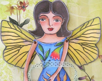 Sunshine butterfly fairy download printable paper doll