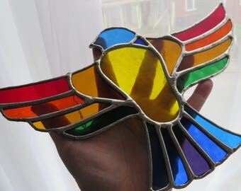 Rainbow Flight! Beautiful Stained Glass Bird Suncatcher - pewtermoonsilver