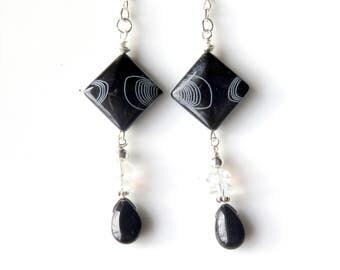 Black Abstract Earrings, Geometric Glass Dangle Earrings, Sterling Silver, Unique One of a Kind Earrings, Wire Wrapped Teardrops