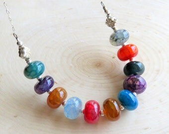 Gemstone Bib Necklace, Multi Color Agate Beads On Sterling Silver Chain, Fashion Necklace, Colorful Gift for Her, One Of A Kind Necklace