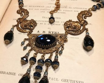 Amazing Art Nouveau Greenman Antique Brass and Czech Glass Vintage Inspired Statement Necklace in Blue
