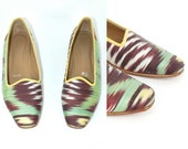 Vtg Women Colorful Turkish Ikat Fabric kilim slippers flat shoes women sz 8