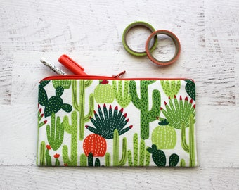 Cactus pencil pouch - cactus zipper pouch - planner pouch - cactus pen case - school supplies - cactus print bag - pencil case - zip pouch