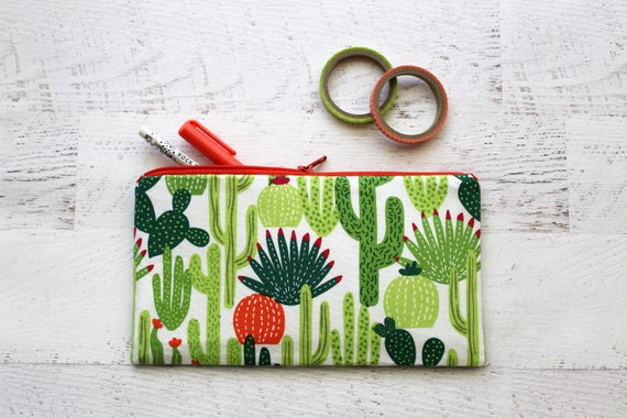 Cactus pencil pouch