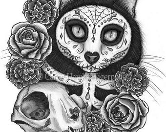 Day of the Dead Cat Skull Art Mexican Sugar Skull Cat Gothic Cat Art Limited Edition Canvas Print 11x14 Art For Cat Lover