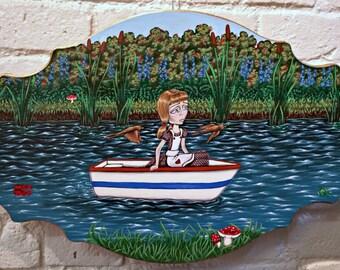 Ride Down The River-Big Eye Pop Surrealism Original Acrylic Painting 20x12-By Alexandria Sandlin Cherrybones