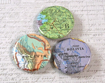 Bolivia Map Pinback Button Set