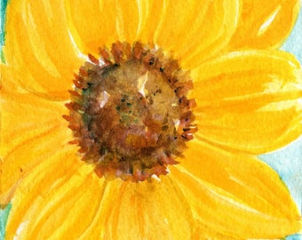 Sunflower Watercolor Painting Original, sunflowers on aqua,  4 x 6, flowers watercolor, small floral art SharonFosterArt Farmhouse decor