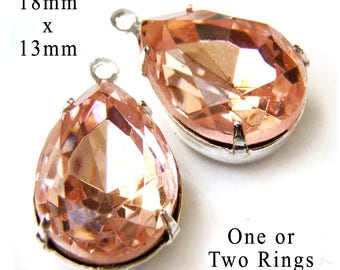 Peach Glass Beads - Framed Glass Pendant or Earring Drops - 18mm x 13mm Pear or Teardrop - Silver or Brass Settings - Glass Gems - One Pair