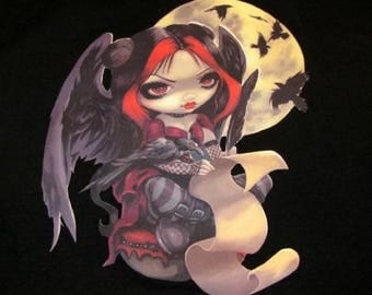 CLEARANCE Tshirt Once Upon a Midnight Dreary by Jasmine Becket-Griffith Junior Size Small S Jr. black 100% cotton tee t-shirt sublimation