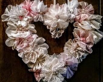 Elegant Lacy Flower Heart Wedding Mother's Day Wreath