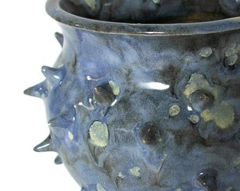 Ceramic Planter - Succulent Planter-  Blue Grouchy Planter Pot with Spikes and Sculpted Feet - Spiked Succulent Planter