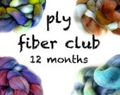 PLY fiber club / hand painted luxury wool roving for spinning or felting / customizable / 12 month membership / pancake and lulu fiber club