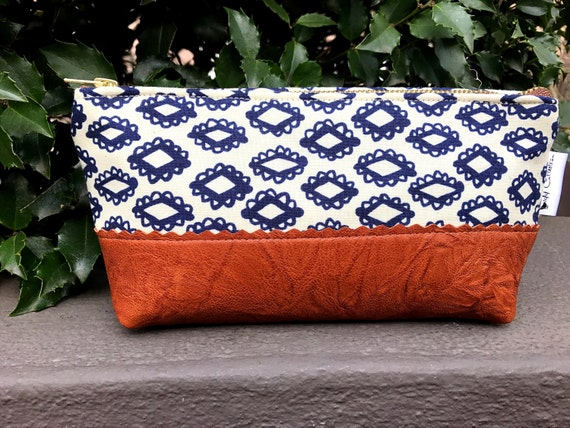 Navy Blue Woodblock Makeup Bag, Travel Toiletry Bag, Leather Zipper Pouch, Small Leather Bag