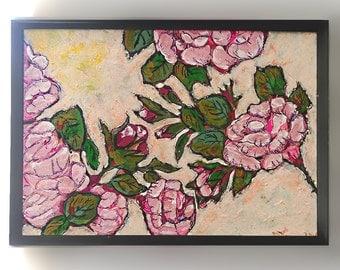 Antique Roses, Original Painting, Joy, Bohemian, Art, Cheery, Rustic, Wall Art, Home Decor, Cottage Decor