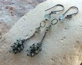MOSS AQUAMARINE earrings,sterling silver long earrings, Aquamarine jewelry, handmade artisan jewelry by Angry Hair Jewelry